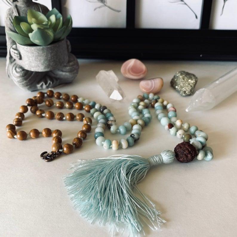 Courage, Abundance and Love Mala Necklace